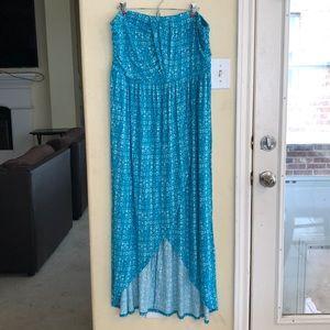 EUC Lane Bryant Blue Print Strapless Maxi Dress 18